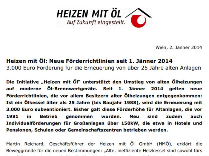 Heizen mit Öl: Neue Förderrichtlinien seit 1. Jänner 2014